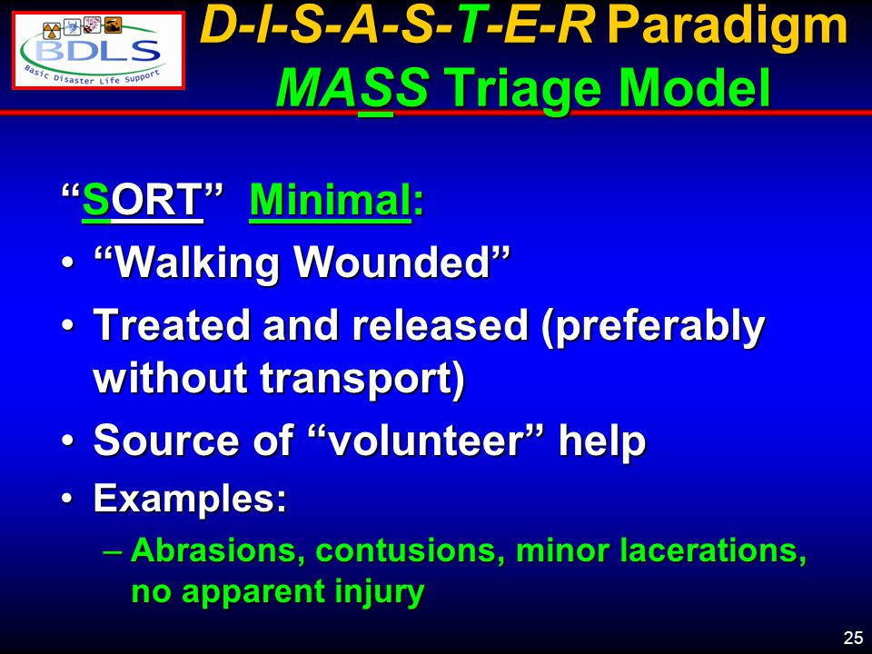 25 D-I-S-A-S-T-E-R Paradigm MASS Triage Model SORT Minimal: Walking Wounded Walking Wounded Treated and released (preferably without transport)Treated and released (preferably without transport) Source of volunteer helpSource of volunteer help Examples:Examples: –Abrasions, contusions, minor lacerations, no apparent injury