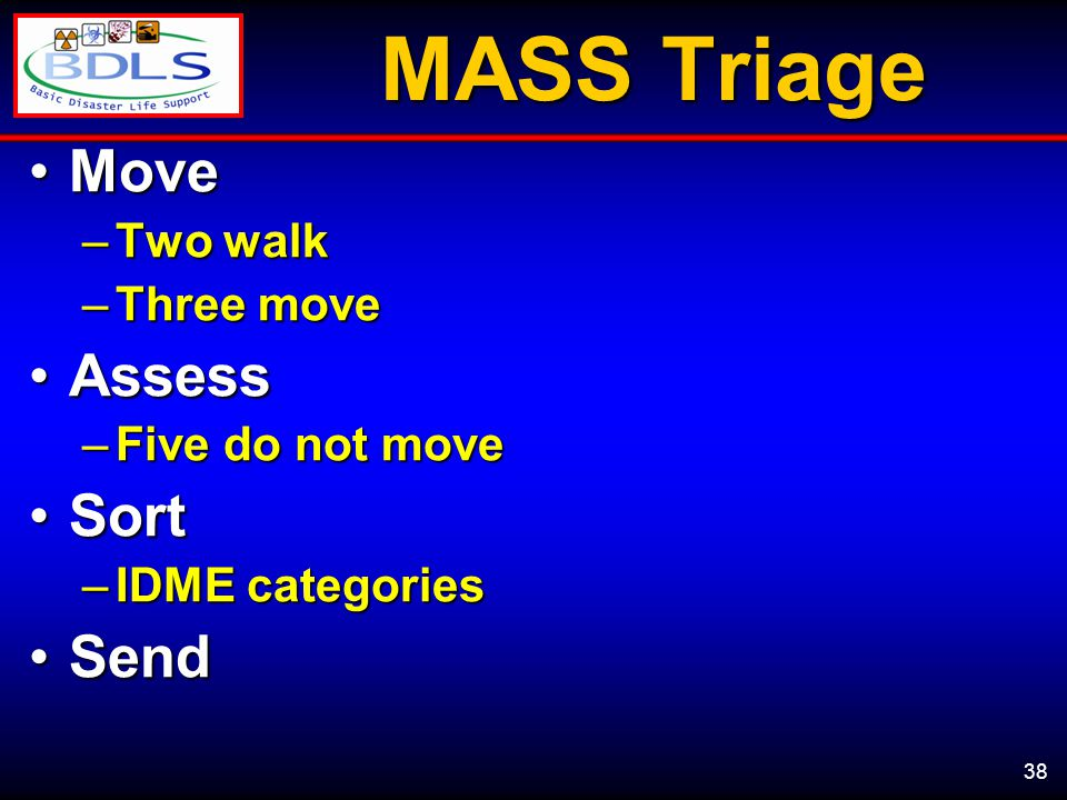 38 MASS Triage MoveMove –Two walk –Three move AssessAssess –Five do not move SortSort –IDME categories SendSend