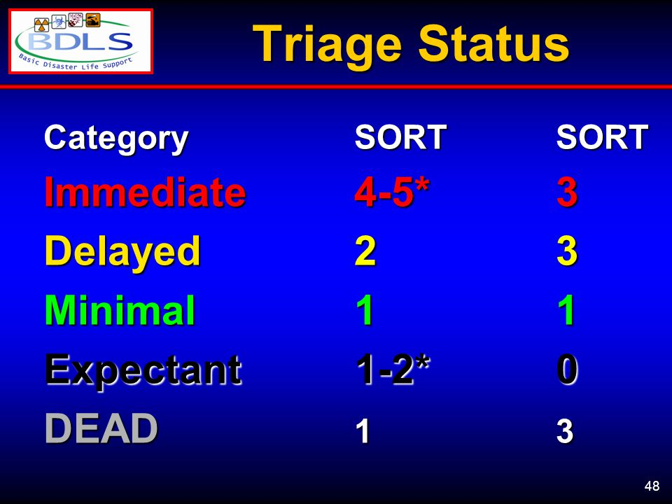 48 Triage Status CategorySORTSORT Immediate4-5*3 Delayed 23 Minimal11 Expectant1-2*0 DEAD 13