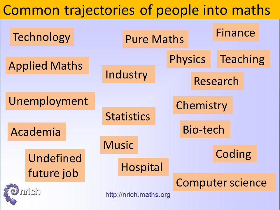 Common trajectories of people into maths Pure Maths Applied Maths Statistics Physics Chemistry Computer science Bio-tech Music Technology Industry Fin