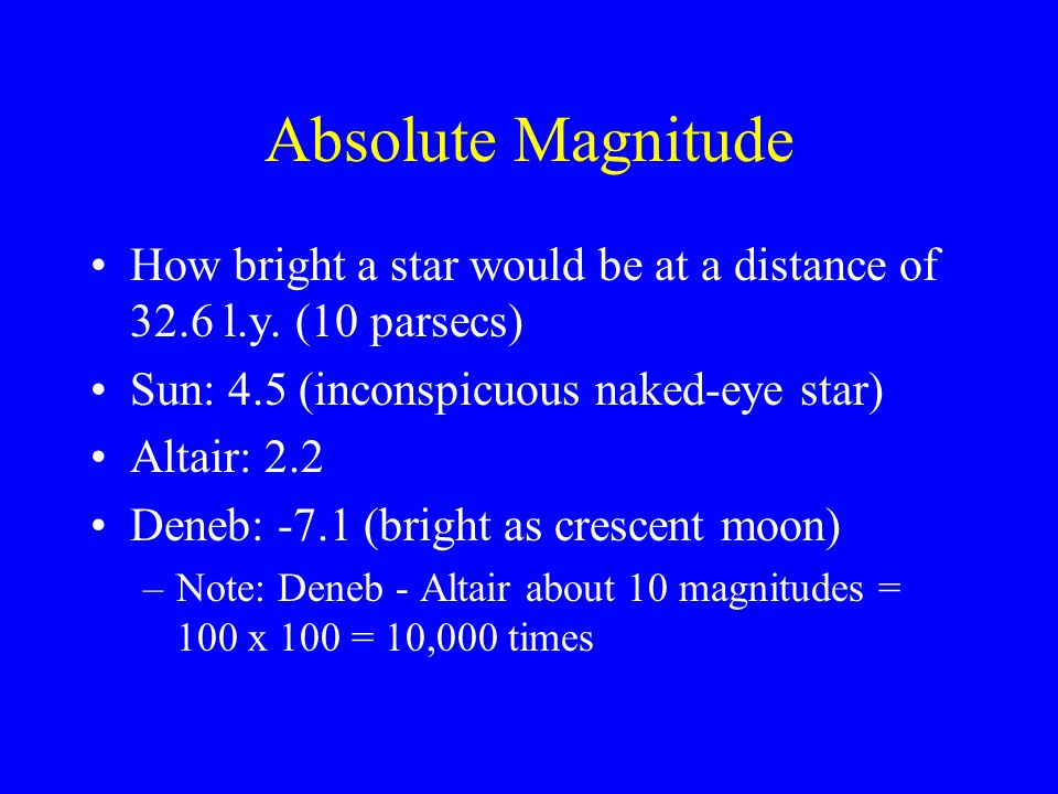 Absolute Magnitude How bright a star would be at a distance of 32.6 l.y.
