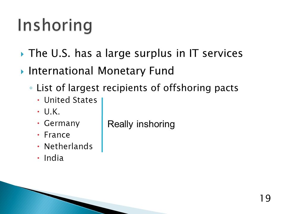  The U.S. has a large surplus in IT services  International Monetary Fund ◦ List of largest recipients of offshoring pacts  United States  U.K. 