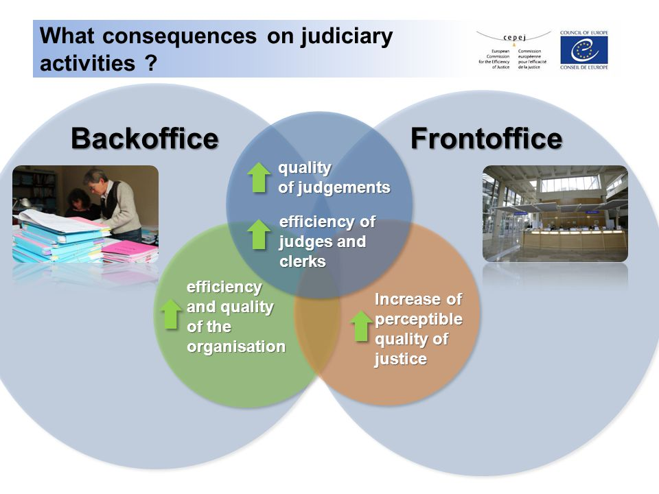 Opportunity of studies BackofficeFrontoffice Impact of ERP/CMS tools on efficiency of courts and on human resources 1.