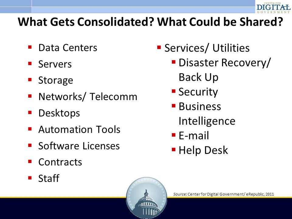  Data Centers  Servers  Storage  Networks/ Telecomm  Desktops  Automation Tools  Software Licenses  Contracts  Staff What Gets Consolidated.