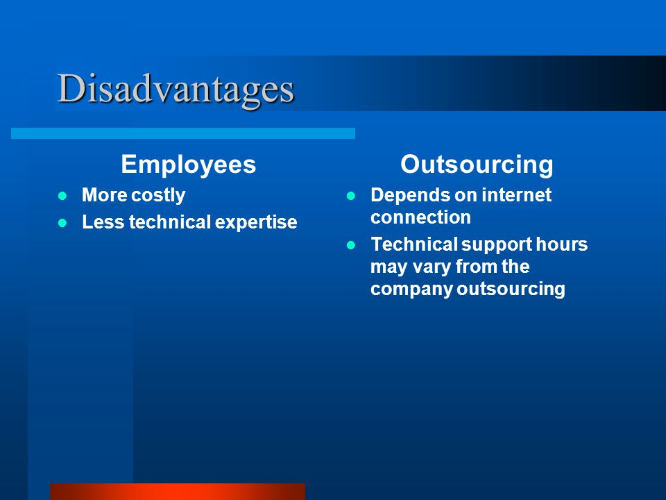 Disadvantages Employees More costly Less technical expertise Outsourcing Depends on internet connection Technical support hours may vary from the company outsourcing