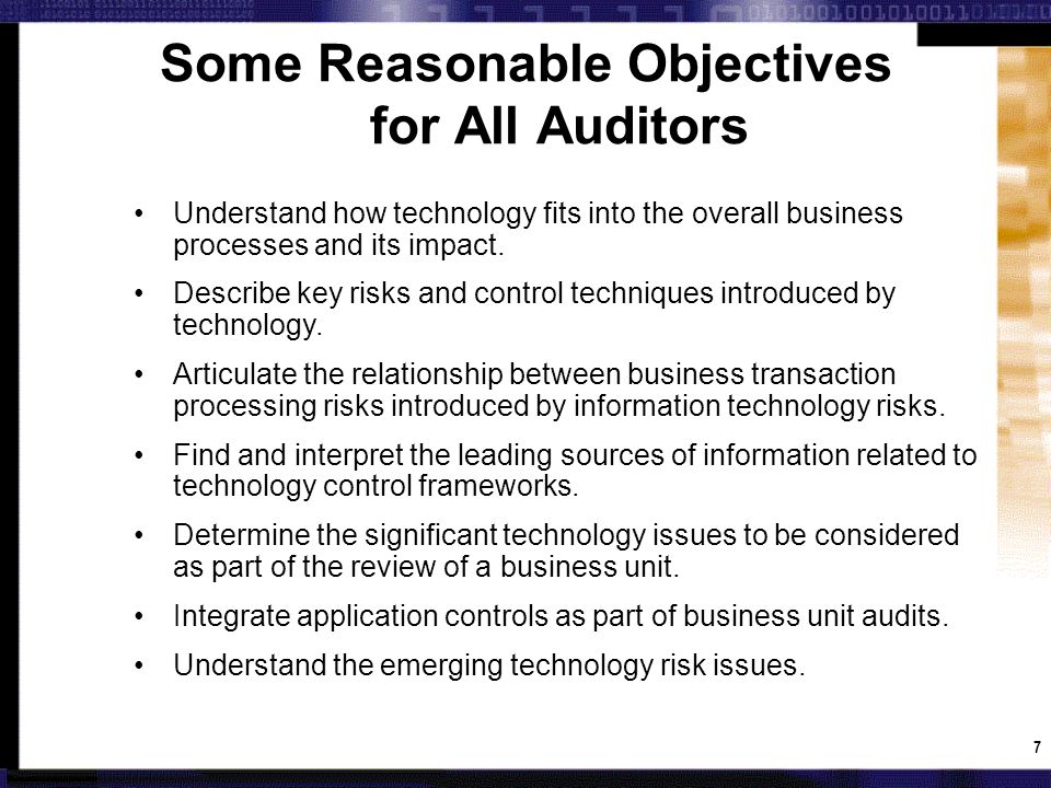Technology Process Gap Analysis: Example Core Technology Process (CTP) InitialAdequateEnhancedOptimized 1.Technology Strategy & Focus XX 2.Risk Assessment & Monitoring XX 3.Audit Planning & SchedulingX 4.Knowledge ManagementX 5.Data Analysis & Mining XX 6.Audit Reporting & Issue TrackingX 7.Audit Execution & DocumentationX 8.Training XX 9.Human Re sources XX 10.Quality Improvement XX Sets a clear priority Don't have to move to Optimized for all May decide some areas are fine for now Red is current state, Green is desired next stage of maturity