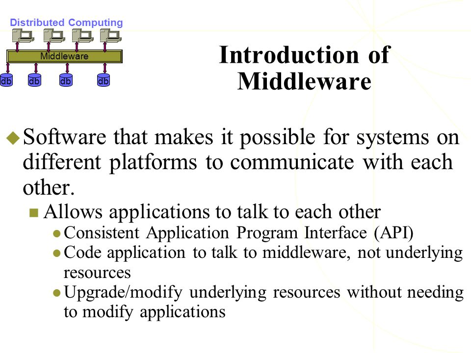 Introduction of Middleware  Software that makes it possible for systems on different platforms to communicate with each other. Allows applications to