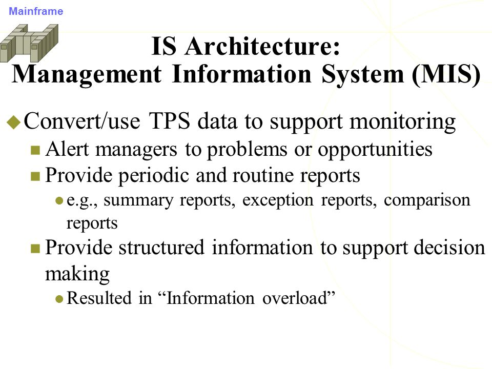 DBMS Applications  With advent of high-speed, distributed architectures, expanded our use of database beyond capturing and storing transaction data Knowledge Discovery Process of extracting useful knowledge from volumes of data Supported by:  Massive data collection (Data Warehouse/Data Marts)  Multiprocessor computing  On-line Analytical Processing (OLAP)/Data mining db Distributed Computing Middleware