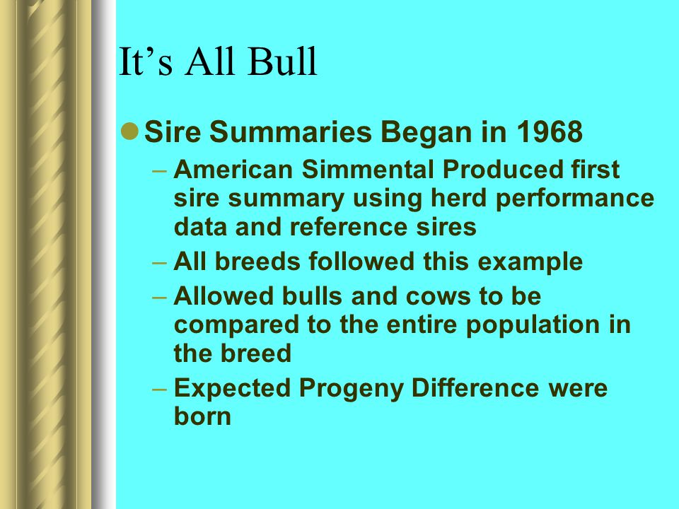 It's All Bull Sire Summaries Began in 1968 –American Simmental Produced first sire summary using herd performance data and reference sires –All breeds followed this example –Allowed bulls and cows to be compared to the entire population in the breed –Expected Progeny Difference were born