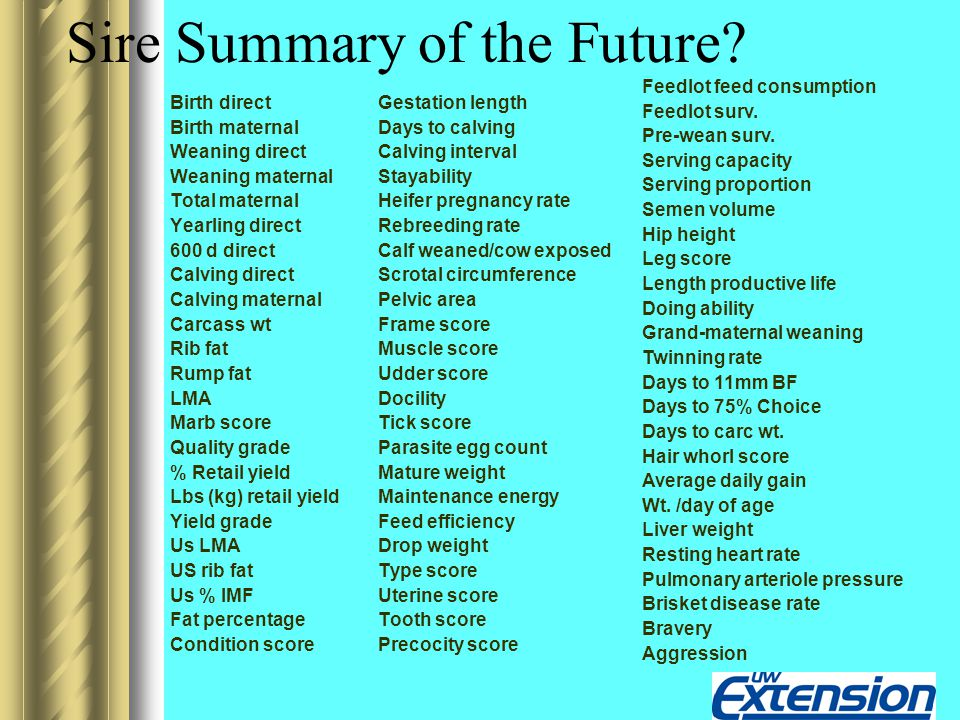 Sire Summary of the Future? Birth direct Birth maternal Weaning direct Weaning maternal Total maternal Yearling direct 600 d direct Calving direct Cal