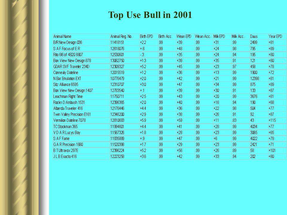 Top Use Bull in 2001