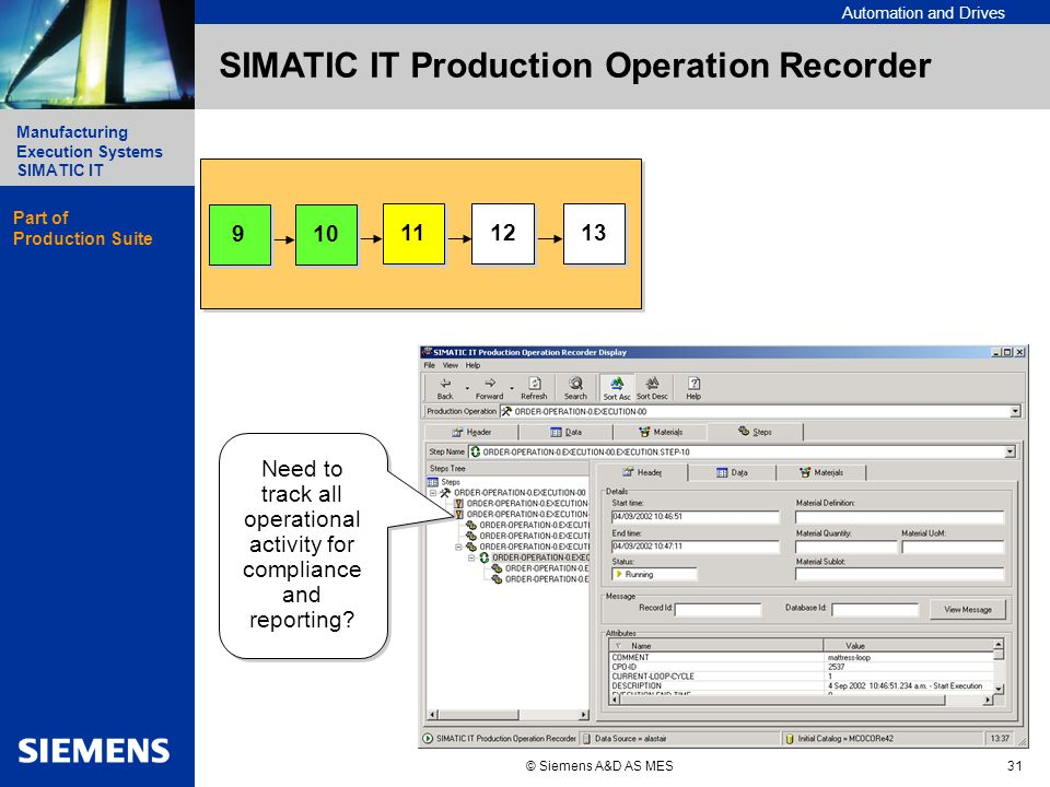 Automation and Drives Manufacturing Execution Systems Simatic IT Manufacturing Execution Systems SIMATIC IT © Siemens A&D AS MES31 SIMATIC IT Production Operation Recorder Need to track all operational activity for compliance and reporting.