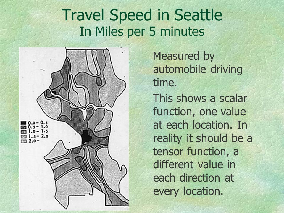 Travel Speed in Seattle In Miles per 5 minutes Measured by automobile driving time.