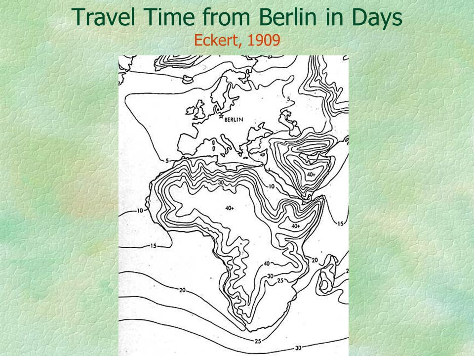 Travel Time from Berlin in Days Eckert, 1909