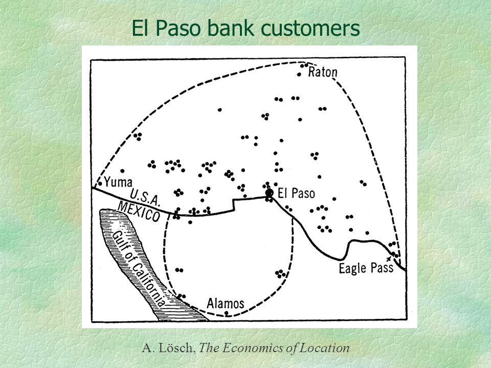 El Paso bank customers A. Lösch, The Economics of Location