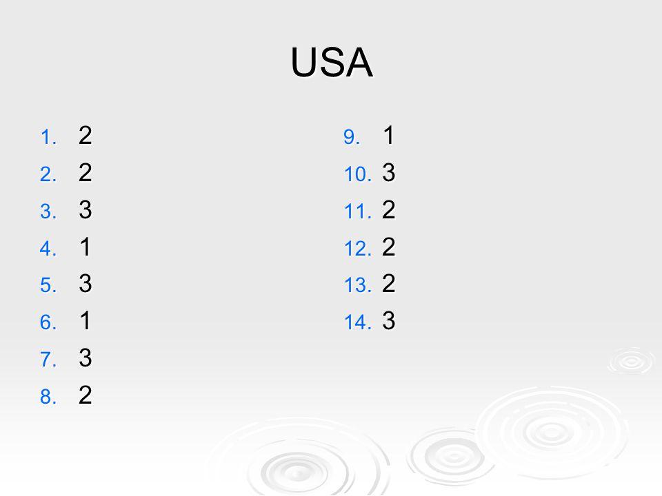 USA 1. 2 2. 2 3. 3 4. 1 5. 3 6. 1 7. 3 8. 2 9. 1 10. 3 11. 2 12. 2 13. 2 14. 3