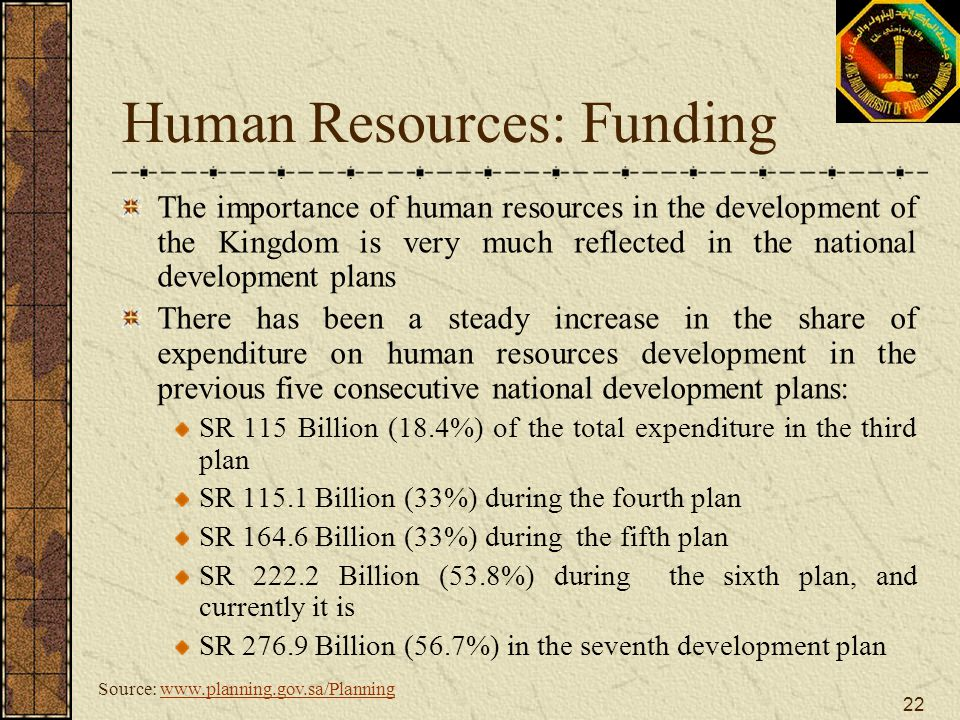 22 Human Resources: Funding The importance of human resources in the development of the Kingdom is very much reflected in the national development pla