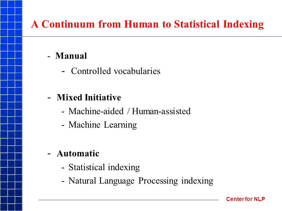 Center for NLP A Continuum from Human to Statistical Indexing - Manual - Controlled vocabularies - Mixed Initiative -Machine-aided / Human-assisted -Machine Learning - Automatic -Statistical indexing -Natural Language Processing indexing