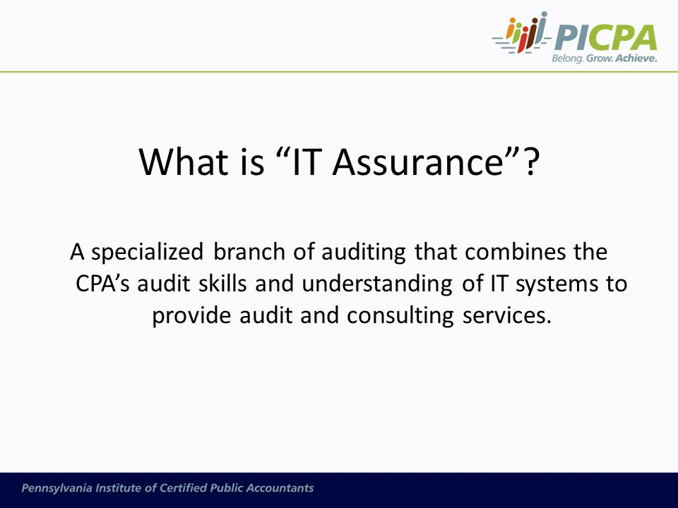 "What is ""IT Assurance""? A specialized branch of auditing that combines the CPA's audit skills and understanding of IT systems to provide audit and con"