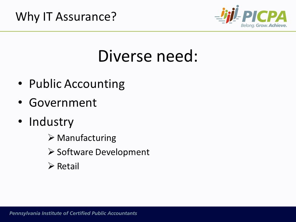 Diverse need: Public Accounting Government Industry  Manufacturing  Software Development  Retail Why IT Assurance?