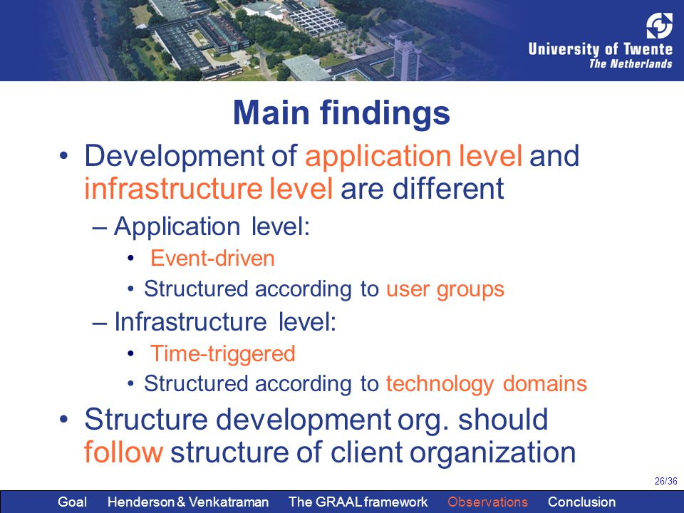 26/36 Main findings Development of application level and infrastructure level are different –Application level: Event-driven Structured according to user groups –Infrastructure level: Time-triggered Structured according to technology domains Structure development org.