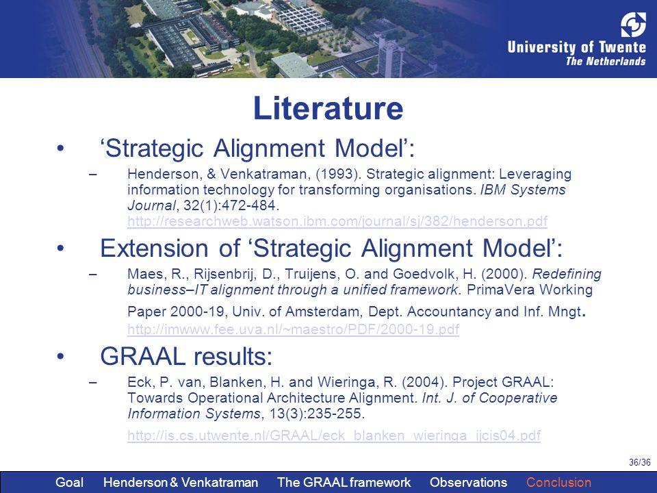 36/36 Literature 'Strategic Alignment Model': –Henderson, & Venkatraman, (1993). Strategic alignment: Leveraging information technology for transformi