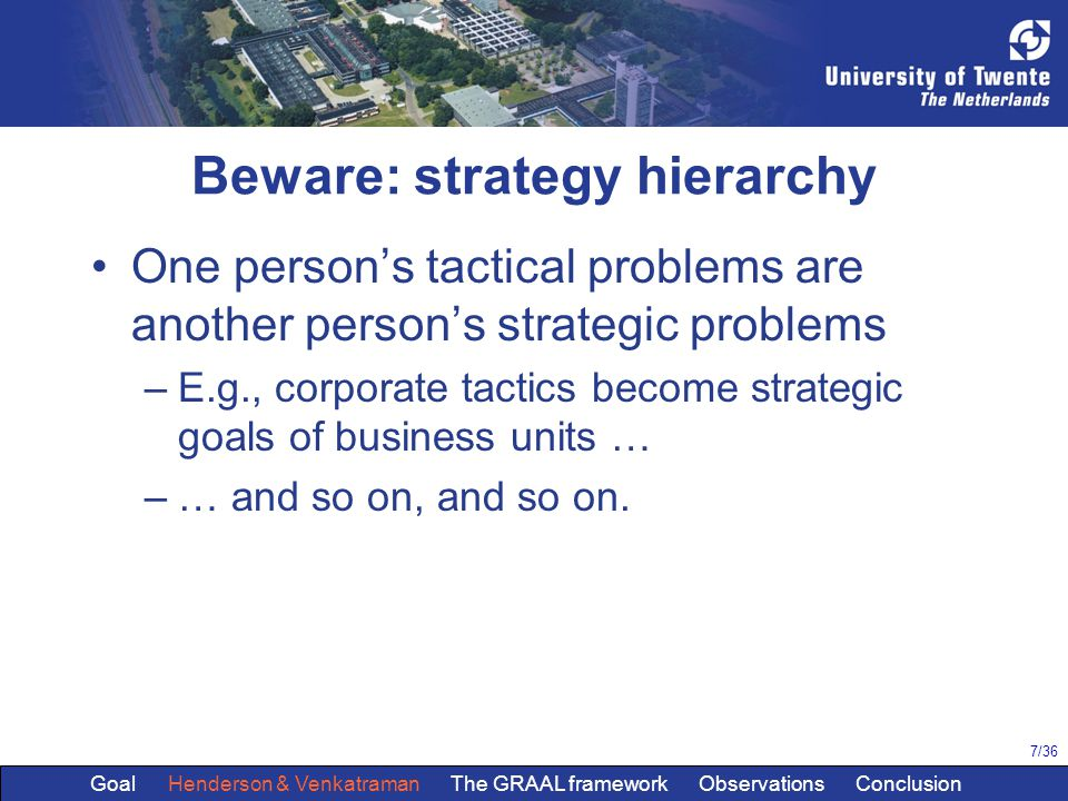 7/36 Beware: strategy hierarchy One person's tactical problems are another person's strategic problems –E.g., corporate tactics become strategic goals of business units … –… and so on, and so on.