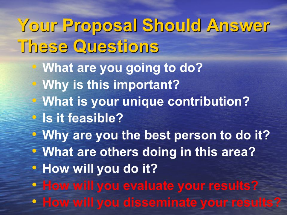 Your Proposal Should Answer These Questions What are you going to do.