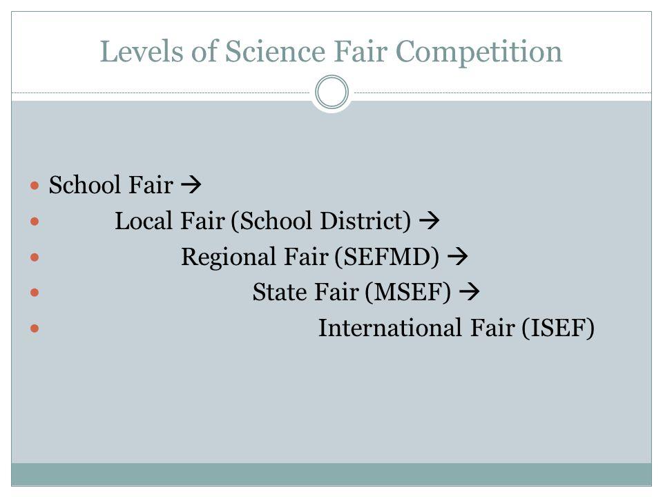 Levels of Science Fair Competition School Fair  Local Fair (School District)  Regional Fair (SEFMD)  State Fair (MSEF)  International Fair (ISEF)