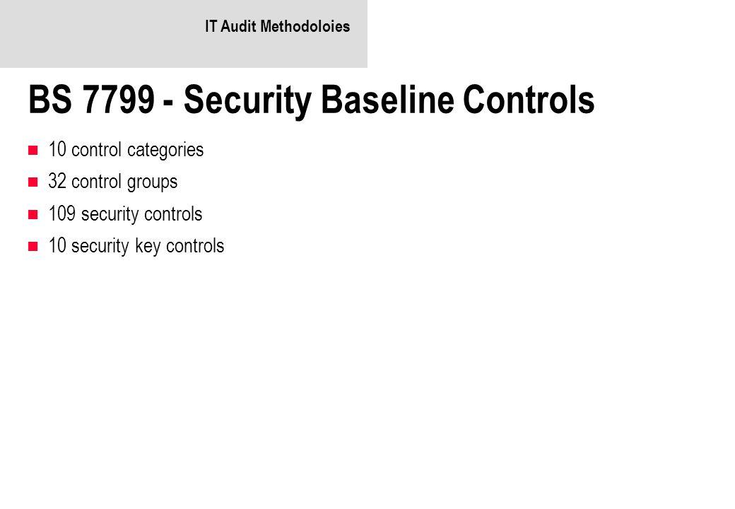 IT Audit Methodoloies BS 7799 - Security Baseline Controls 10 control categories 32 control groups 109 security controls 10 security key controls