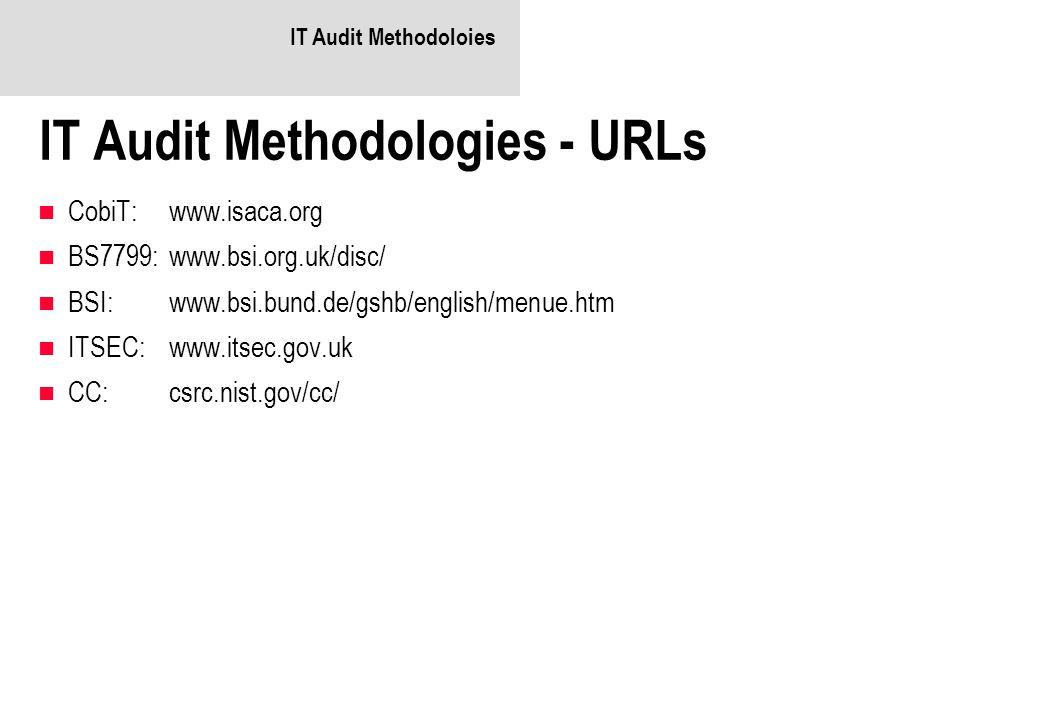 IT Audit Methodoloies IT Audit Methodologies - URLs CobiT:www.isaca.org BS7799:www.bsi.org.uk/disc/ BSI:www.bsi.bund.de/gshb/english/menue.htm ITSEC:w