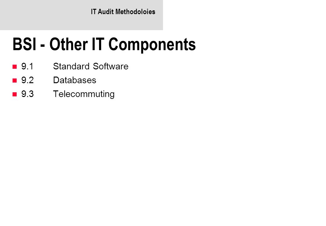 IT Audit Methodoloies BSI - Other IT Components 9.1Standard Software 9.2Databases 9.3Telecommuting