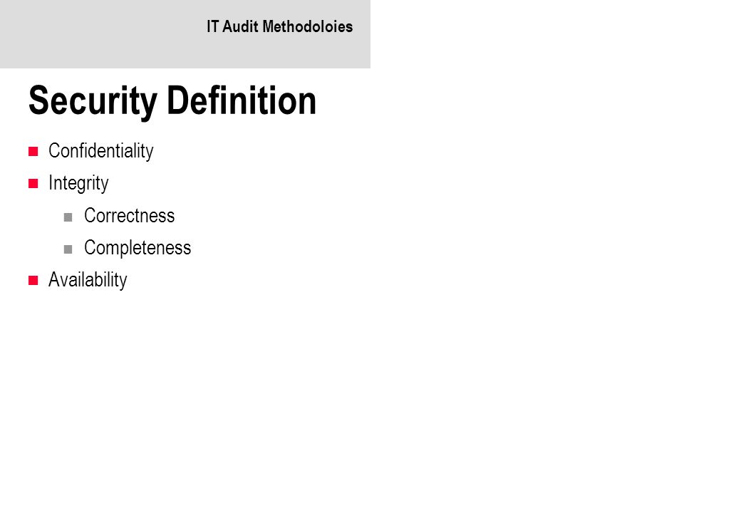 IT Audit Methodoloies Security Definition Confidentiality Integrity Correctness Completeness Availability