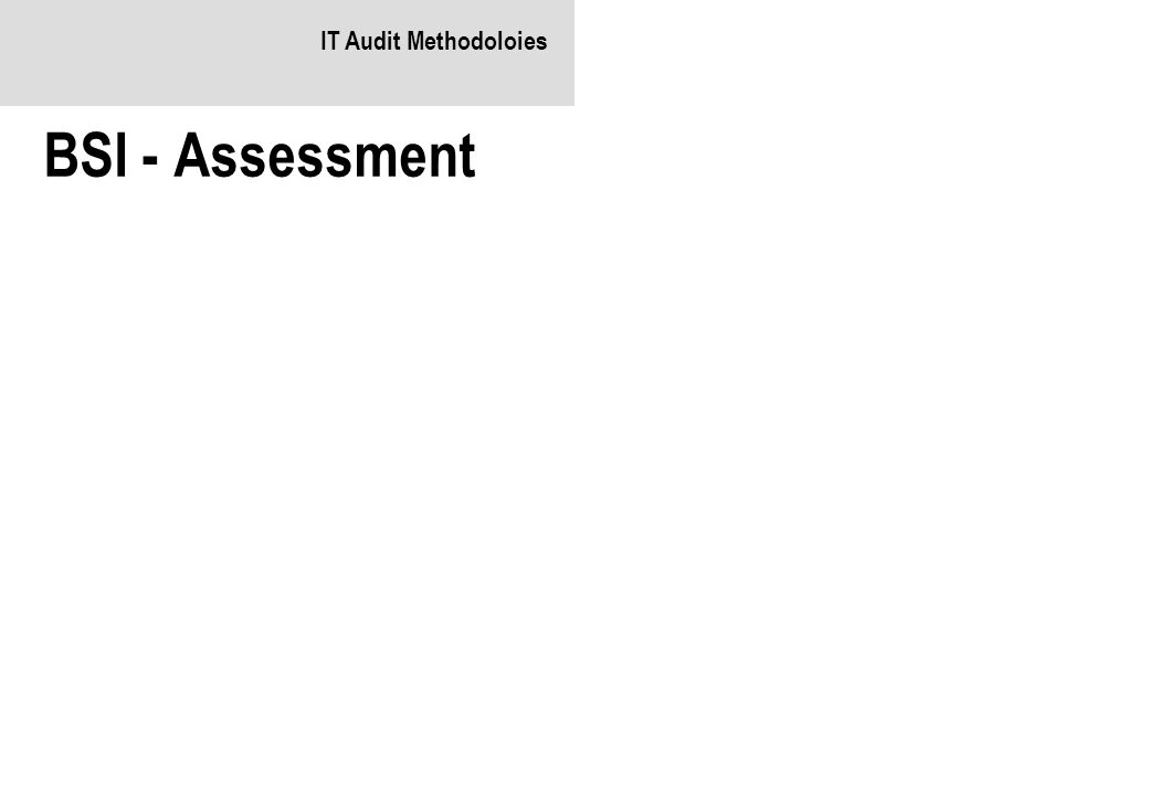 IT Audit Methodoloies BSI - Assessment