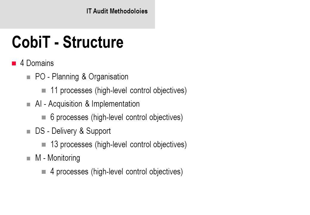IT Audit Methodoloies CobiT - Structure 4 Domains PO - Planning & Organisation 11 processes (high-level control objectives) AI - Acquisition & Impleme