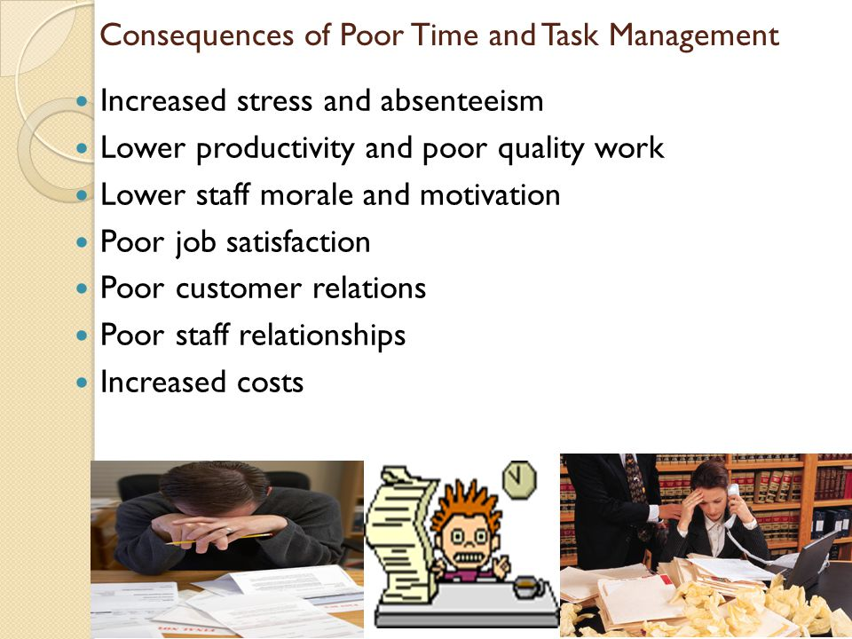 Consequences of Poor Time and Task Management Increased stress and absenteeism Lower productivity and poor quality work Lower staff morale and motivat