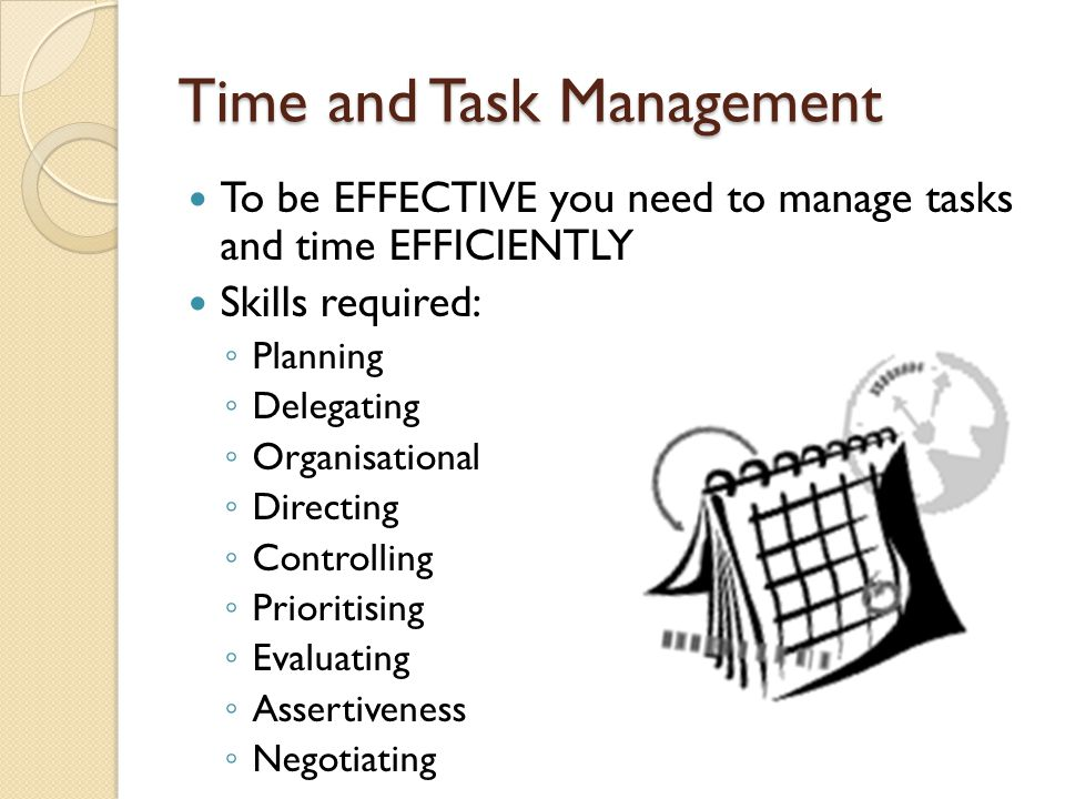 Time and Task Management To be EFFECTIVE you need to manage tasks and time EFFICIENTLY Skills required: ◦ Planning ◦ Delegating ◦ Organisational ◦ Dir