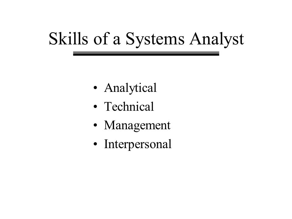 Skills of a Systems Analyst Analytical Technical Management Interpersonal