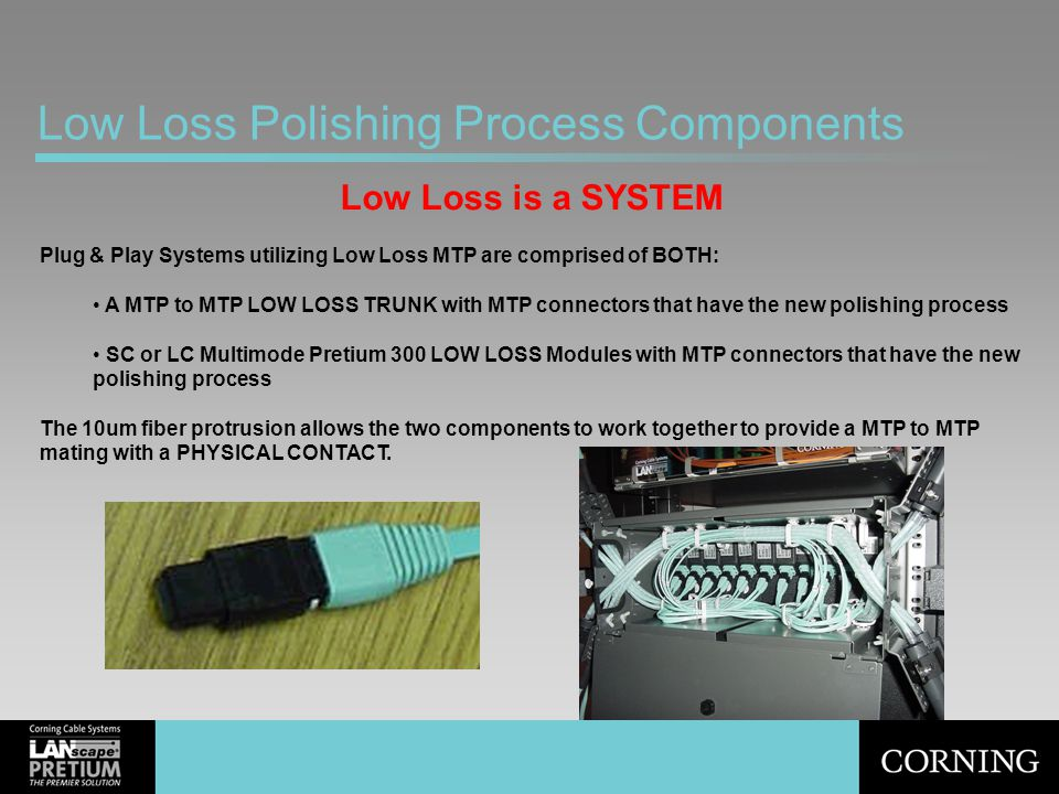 Low Loss Polishing Process Components Low Loss is a SYSTEM Plug & Play Systems utilizing Low Loss MTP are comprised of BOTH: A MTP to MTP LOW LOSS TRU