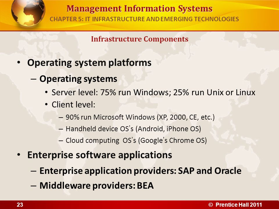 Management Information Systems Operating system platforms – Operating systems Server level: 75% run Windows; 25% run Unix or Linux Client level: – 90%