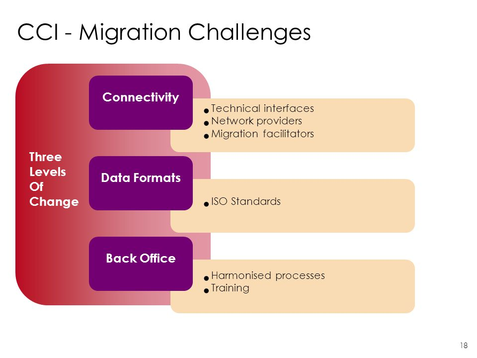 18 Three Levels Of Change Technical interfaces Network providers Migration facilitators CCI - Migration Challenges Connectivity ISO Standards Data For