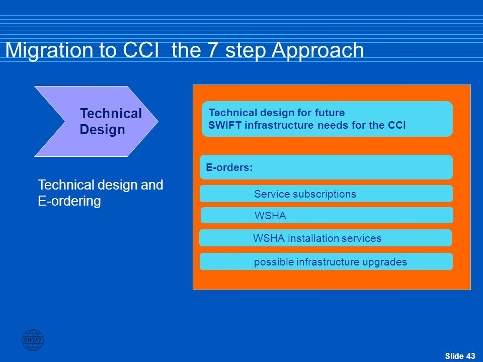 Slide 43 Migration to CCI the 7 step Approach Technical Design Technical design for future SWIFT infrastructure needs for the CCI E-orders: Service su