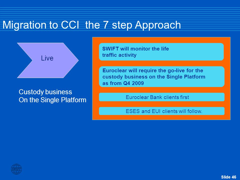 Slide 46 Migration to CCI the 7 step Approach Live SWIFT will monitor the life traffic activity Euroclear will require the go-live for the custody bus