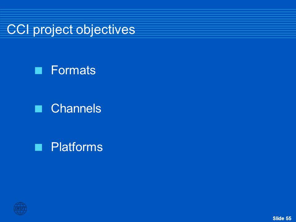 Slide 55 CCI project objectives  Formats  Channels  Platforms