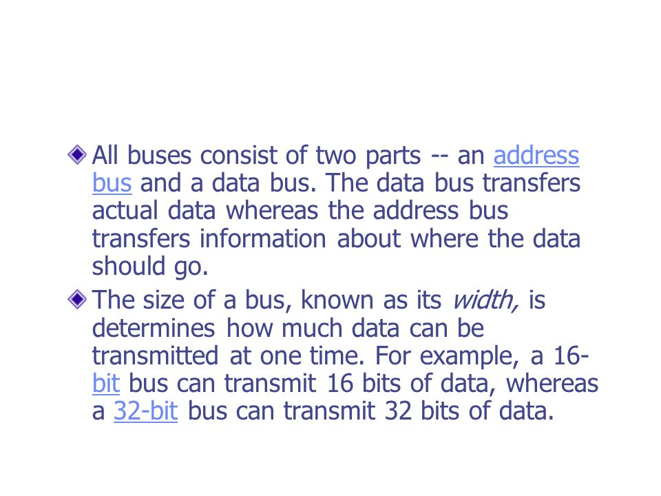 All buses consist of two parts -- an address bus and a data bus.