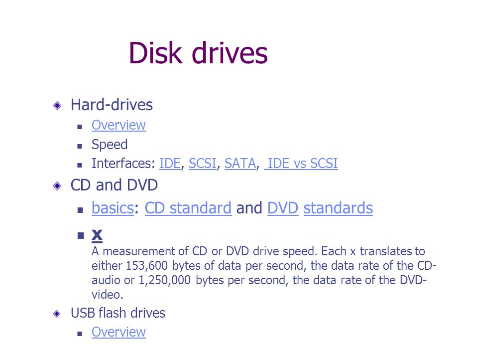 Disk drives Hard-drives Overview Speed Interfaces: IDE, SCSI, SATA, IDE vs SCSIIDESCSISATA IDE vs SCSI CD and DVD basics: CD standard and DVD standards basicsCD standardDVDstandards x A measurement of CD or DVD drive speed.