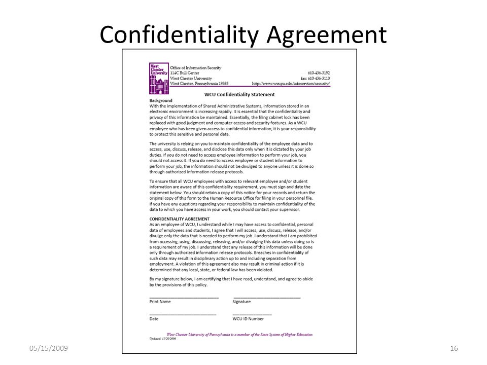 Confidentiality Agreement 05/15/200916