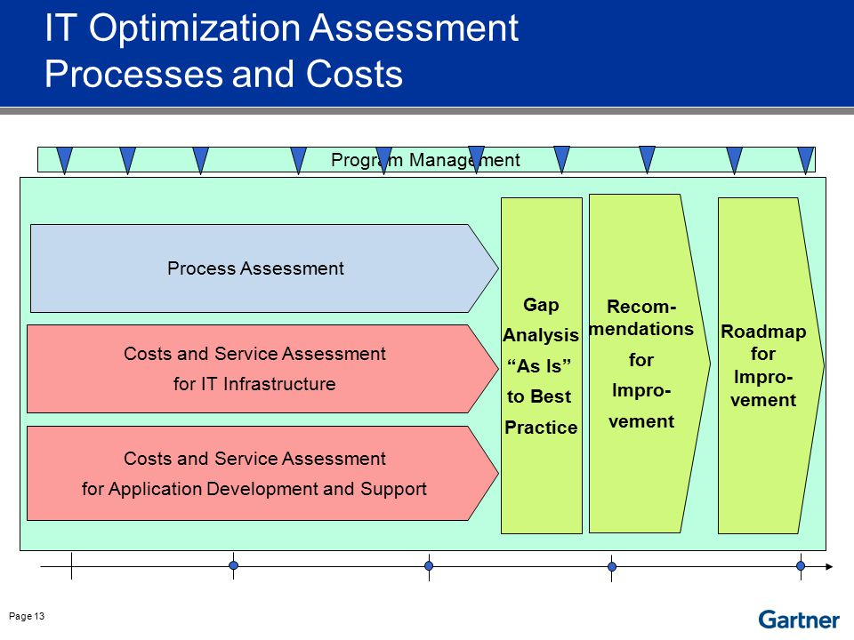 Page 13 IT Optimization Assessment Processes and Costs Program Management Costs and Service Assessment for IT Infrastructure Process Assessment Costs
