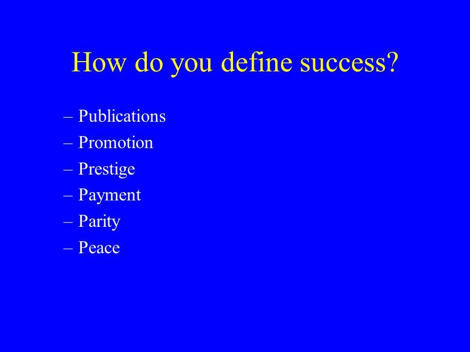 How do you define success? –Publications –Promotion –Prestige –Payment –Parity –Peace