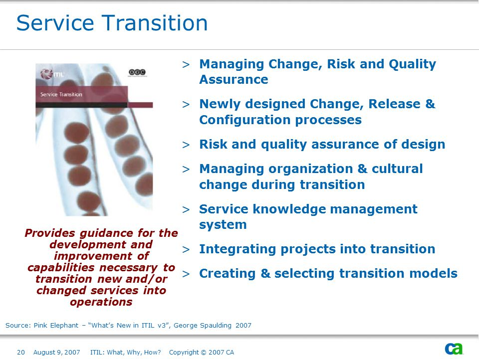 20August 9, 2007 ITIL: What, Why, How? Copyright © 2007 CA Service Transition >Managing Change, Risk and Quality Assurance >Newly designed Change, Rel